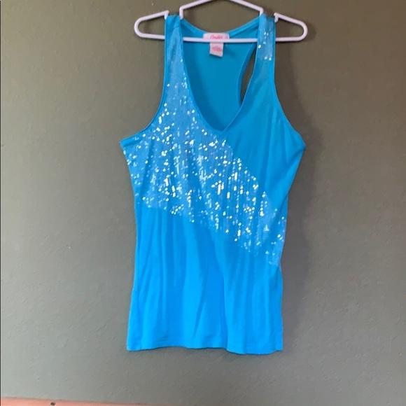 Candie's Tops - Blue sequin tank top